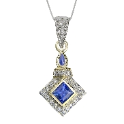 14 karat white and yellow gold; hand engraved; coloured gemstone pendant by Rainbow Sapphire. Set with a Blue Sapphire; 0.90 carat. Accented with diamonds; 0.07 carat total weight.