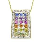 14 karat white gold pendant by Rainbow Sapphire. Set with 18 round faceted rainbow sapphires; 0.80 carat total weight; 2mm.  Accented with 38  round brilliant cut diamonds; 0.26 carat total weight; SI1-SI2; G/H.