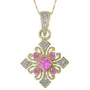 14 Karat white gold pendant; set with princess and round pink sapphires weighing 0.37 carat total weight and 0.04 carat total weight of pave set round diamonds.