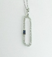 14KW CG pendant set with: - 47 RBC diamonds; 0.17cttw; G/H; SI very good cut - 1 sapphire baguette; 0.06ct