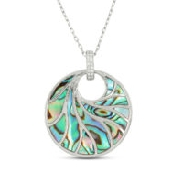 14K white gold small round abalone and single row of 8 diamonds; totaling 0.04 carats; bale Venus II pendant with chain; from Frederic Sage collection.