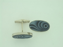 14K white gold cufflinks carved onyx
