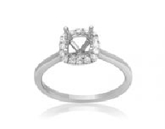 14KW engagement ring set with: - 16 round brilliant cut diamonds; 0.11cttw; G/H; SI