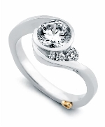 Escape  by Mark Schneider Sterling silver mount set with 0.115ctw to fit 1 carat