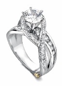 Bedazzle  by Mark Schneider  Sterling silver mount set with 0.665ctw CZ s to fit 1 carat centre