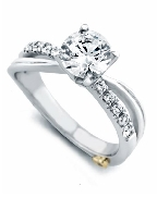 Surge  by Mark Schneider Sterling silver mount set with 0.195ctw CZ s to fit 1 carat