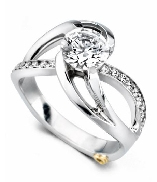 Kismet  by Mark Schneider sterling silver mount set with 0.185ctw CZ s to fit 1 carat