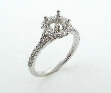 14KW engagement ring mount with 0.50ct centre set with: - 40*-0.40cttw; G/H; SI1; very good cut