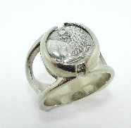 14K white gold Greek coin ring by Studio Tzela  Greek; Thrace Chersonesos; ca. 386-338 BC AR Hemidrachm OBV:Forepart of lion right; looking back. REV: Square with grapes and pellet   A   in two corners Reference: BMC 18;