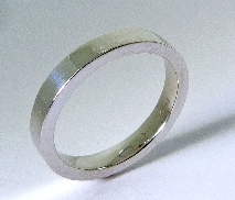 14K white gold pipe style wedding band 3mm wide Size 6.5