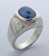 Mens Sapphire ring Reticulation on one side 9.13 carat sapphire 14K white gold