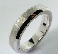 14K white gold plateau wedding band; size 9;  5mmx 2.5mm.