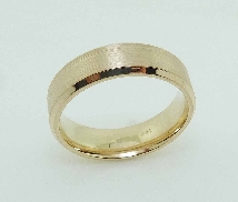 14K Yellow gold men s wedding band; size 10; 6.5 mm