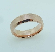 14K rose gold men s wedding band; size 10; 6.5 mm