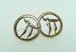 14K Yellow Gold stud earrings - Chai symbol