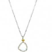 Phillip Gavriel Collection Sterling silver with 18K yellow gold pendant with aqua coloured stone on 18   chain