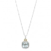 Sterling silver/18K yellow gold pendant and chain set with:  - Blue topaz  - 0.03ct diamonds