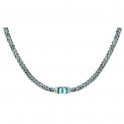 Sterling Silver Dome Weave Necklace with Blue Topaz & White Sapphire