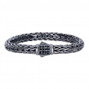 Silver with black rhodium finish weave bracelet with black sapphires