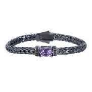 Silver with black rhodium finish weave bracelet with Amethyst and black Sapphires