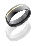 Zirconium and 14 K yellow gold polished ring by Lashbrook 6mm size 9.5