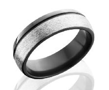 Black Zirconium Silver stone/Polish Z7D1.5OC size: 9.5