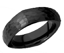 Mens band 7MM wide Black zirconium Dome square band