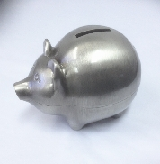 Pewter Finish Pig Bank