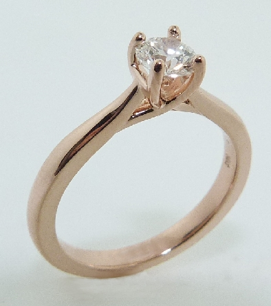 14K rose gold engagement ring; set with an ideal round brilliant cut diamond by Hearts On Fire - - 0.434ct G; SI1 (HOF101632) -  -