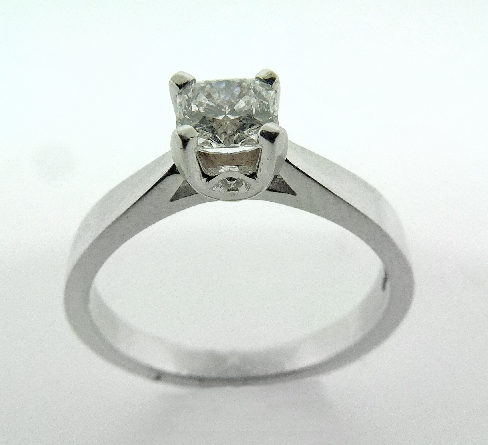 18K White Gold engagement ring known as;   Modern Leaf Sweet Dream Solitaire; set with one dream cut diamond by Hearts On Fire; 0.827 carat; I VVS2 (DRM19172)