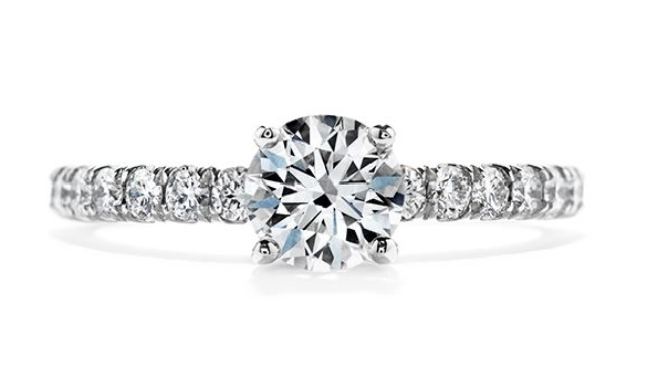 18K white gold enagement ring; known as  Enrichment  Sensational Series by Hearts On Fire; set with an ideal round brilliant cut diamond by Hearts On Fire -centre: 1.031ct I VS1 -accented with ideal round brilliant cut diamonds by Hearts On Fire; 0