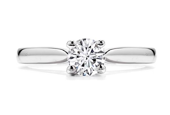 18K white gold engagement ring   Purely bridal four-prong V   by Hearts on Fire set with:  - 0.32ct J; VS1 (HOF144984)