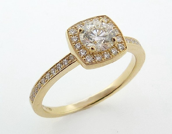 18K yellow gold engagement ring   Euphoria custom halo   by Hearts On Fire. Set with: - 0.550ct I; VS2 (HOF130431) - 36*= 0.18cttw I-J; VS-SI
