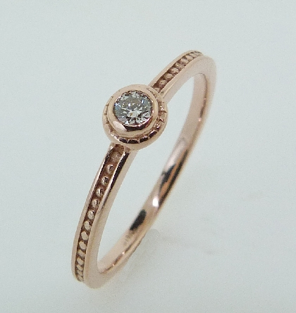14K Rose gold stacking ring mount TSR-700RD Set with a 0.08ct HOF SI1 H