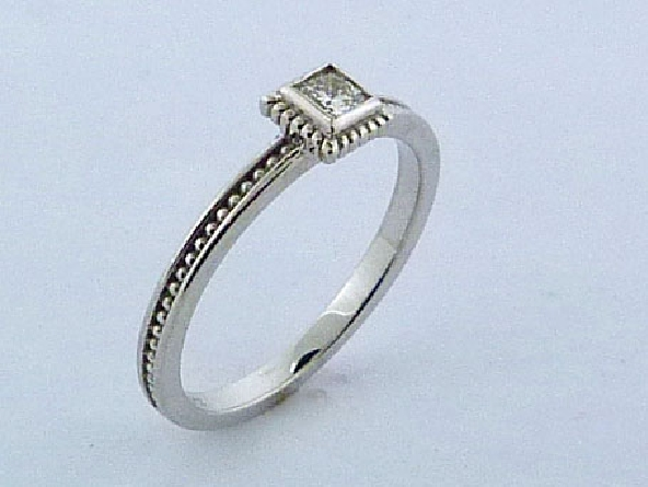 14K white gold square shape stackable ring - -set with one ideal Dream cut diamond by Hearts On Fire; 0.162ct VS1-VS2; G/H