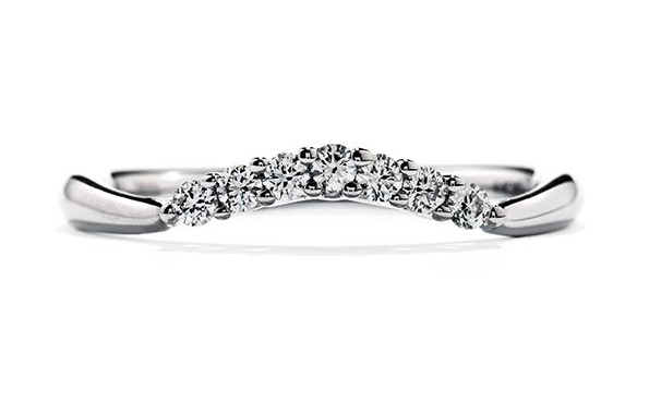 18K white gold band by Hearts on Fire   Felicity Queen Anne Band   set with: -  - - 7* = 0.14cttw - G/H ; VS-SI