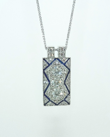 18K white gold pendant known as  -   Vintage Rectangle Diamond Pendant   with Blue Enamel by Hearts On Fire  - set with ideal round brilliant cut diamonds by Hearts On Fire: - 0.80carat total weight; G/H VS-SI.