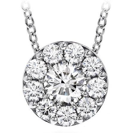 18K white gold pendant; known as  Fulfillment Pendant Necklace  by Hearts On Fire - -set with ideal round brilliant cut diamonds by Hearts On Fire; 0.25 carat total weight; VS-SI; I/J -