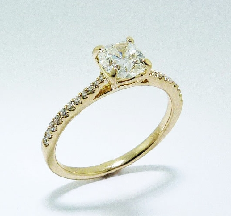 14 karat Yellow Gold Diamond Engagement Ring. Set with: Center- 00.72 ct I VS1 Fire Cushion Brilliant Cut GIA# 1166344637 Side-22 diamonds; 0.13 carat total weight; G/H; SI-VS