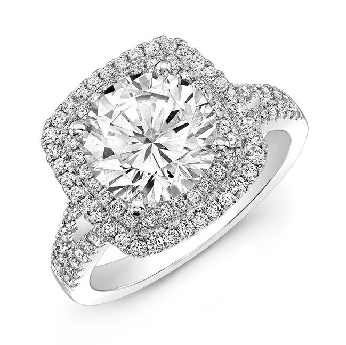 18K white gold engagement ring by  Natalie K Set with: Center: 1.00carat CZ accented with side diamonds: 0.66carats; SI1; H-I