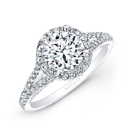 18K white gold engagement ring by Natalie K set with: center:  1.00ct CZ accented with side diamonds totalling 0.31carats; H-I; SI1