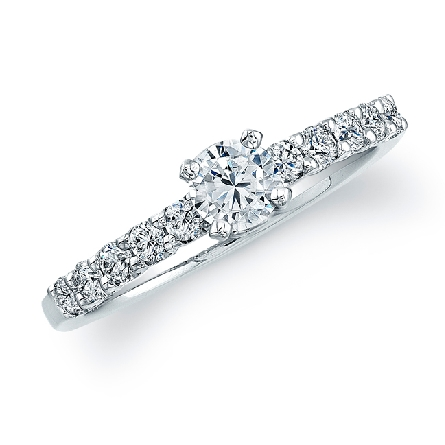 14K white gold engagement ring by Natalie K; set with 1.0 carat CZ. Accented with 12 H-I SI round brilliant cut diamonds totaling 0.37 carats