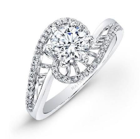 18 KW Ladies engagement ring by Natalie K set with: - - 0.50 CZ centre - - 50 pave set diamonds 0.20 cttw G/H; VS-SI