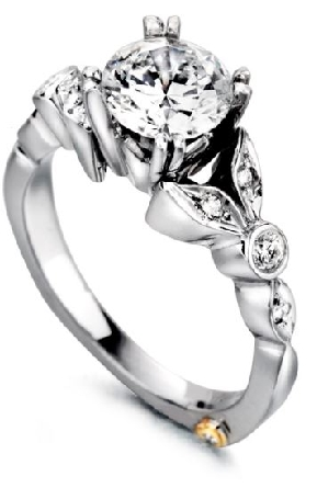 14K white gold engagement ring; known as  Reminiscent  by Mark Schneider -Center: Cubic Zirconia -accented with side diamonds; 0.155 carat total weight; VS-SI; G/H