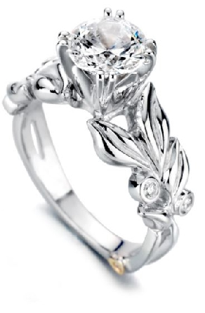 14K white gold   Flora   Mark Schneider Engagement Ring - -centre: Cubic Zirconia - -accented with side diamonds; 0.065 carat total weight; VS-SI; G/H