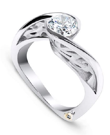 14K white gold; size 6.5; known as   Sincerity Soft   by Mark Schneider; set with 0.75 carats CZ.