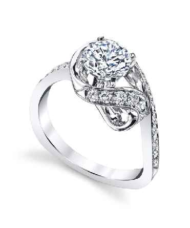 14K white gold engagement ring; known as   Wisp   2015. Accented with 28 round brilliant cut diamonds; totaling 0.425 carats. 1 carat CZ center