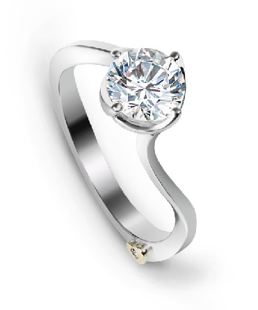 14 karat white gold engagement ring; by Mark Schneider; known as   Posy   - Set with a 0.50 carat CZ.