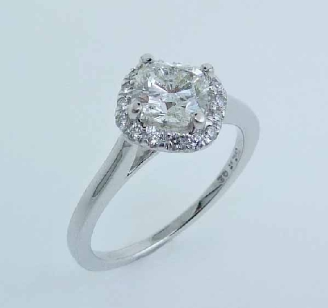14K white gold halo engagement ring - 16=0.16cttw diamonds SI G/H - Q10-56-113 - 1.01ct fire cushion - H VS2 - Excellent cut - GIA:5171210213