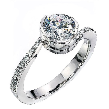 14K white gold engagement ring; by Ancora Set with:     -Center: CZ     -accented with round brilliant cut round diamonds; 0.11 carat total weight; G/H; VS-SI